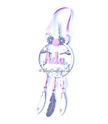 Unicorn dream catcher with hanging feathers - personalised version.