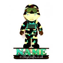 Soldier themed personalised shape on stand.