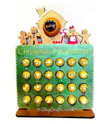Reusable 6mm thick gingerbread family chocolate advent calendar - OTHER DESIGNS AVAILABLE
