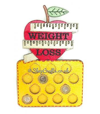 "Reusable 14lb weight loss ""£'s for lbs"" plaque - Apple design."