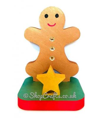 18mm thick freestanding stocking hanger - gingerbread man.
