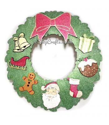 3D Christmas wreath with bow and Christmas shapes.