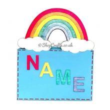 Rainbow themed money box with name