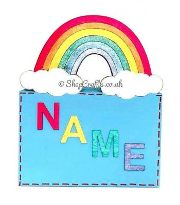 Rainbow themed money box with name