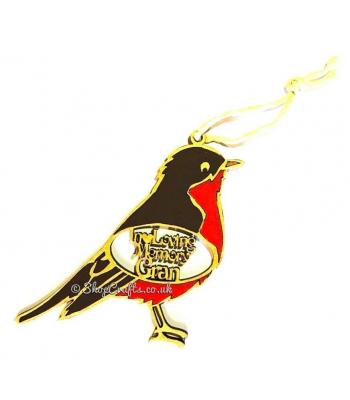 """In loving memory"" personalised robin tree decoration."