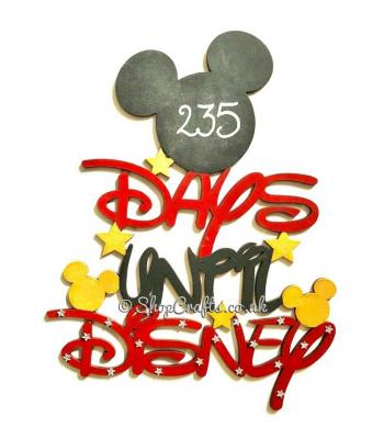 """Days until Disney"" countdown hanging sign."