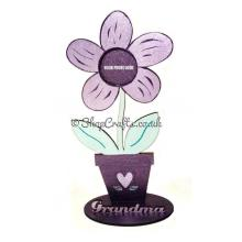 Flower shaped photo frame with personalised stand.