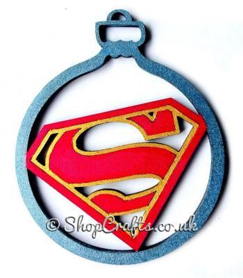 """Superman"" logo character christmas tree bauble."