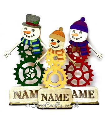 Steampunk snowman personalised characters on stands.