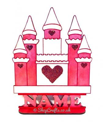 Princess Castle theme personalised shape on stand.