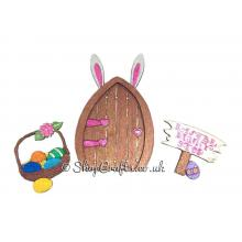 Easter Bunny themed magic fairy door with accessories.