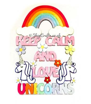"""Keep calm and love unicorns"" hanging quote sign."