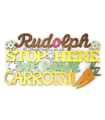 """Rudolph stop here we have carrots"" quirky Christmas sign."