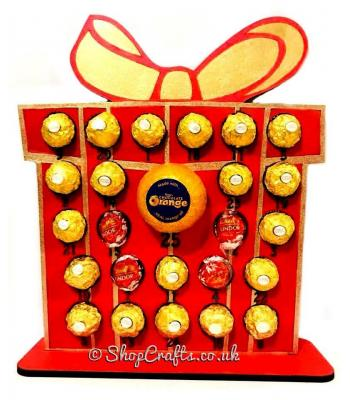 Reusable 6mm thick present shaped chocolate advent calendar - OTHER DESIGNS AVAILABLE