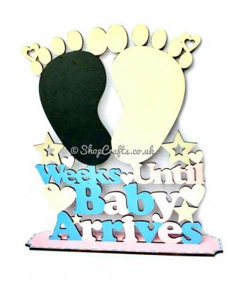 """Weeks until baby comes"" countdown sign on stand"