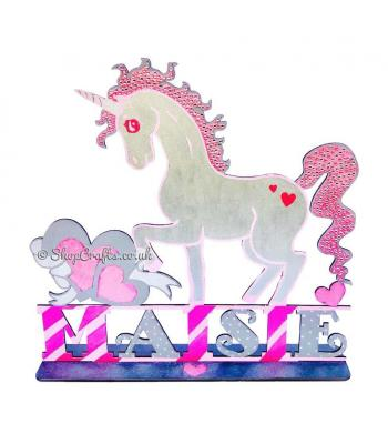 Large Unicorn theme personalised shape on stand.