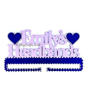 Personalised hanging headband rail holder with heart detail