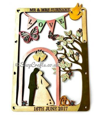 Wedding hanging plaque personalised with surname and date.