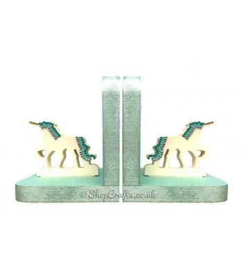 18mm thick freestanding wooden bookends - unicorn theme.