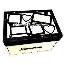 Keepsake or storage box with laser cut photo frames on the lid.