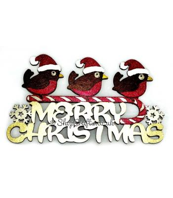 """Merry Christmas"" quote sign featuring robins perched on a candy cane."