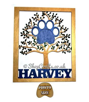 Personalised pet themed photo tree with paw print frame.