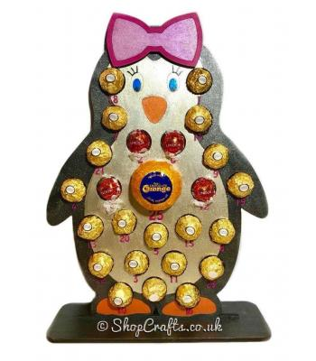 Reusable 6mm thick girl penguin chocolate advent calendar  - other designs available.
