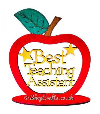 Best Teaching Assistant keepsake apple on stand.