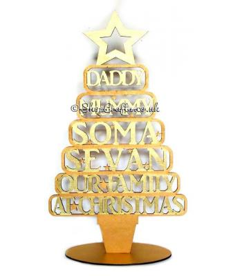 Personalised alternative design Christmas tree on stand - names in frames version.