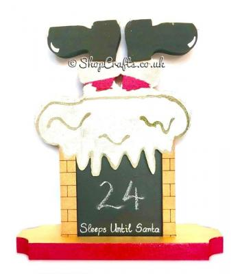"""When Santa got stuck in the chimney"" chalkboard 18mm thick freestanding Christmas countdown."