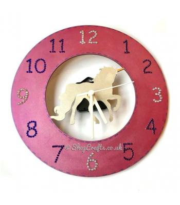 Wooden wall clock - unicorn theme