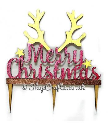 "Reusable Christmas cake topper - ""Merry Christmas"" with antlers version *OTHER DESIGNS AVAILABLE*"