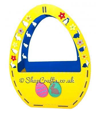 Easter egg shaped Easter basket.
