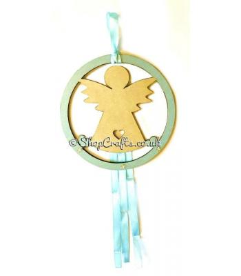 Hanging mini dream catcher - angel version.