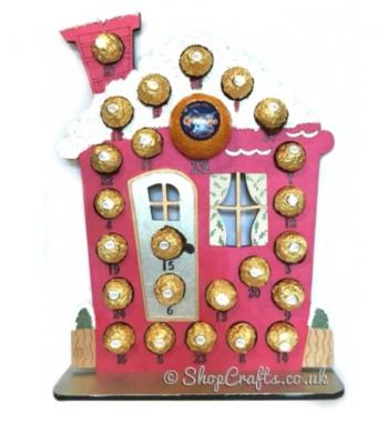 Reusable 6mm thick Santa's Workshop chocolate advent calendar - other designs available.