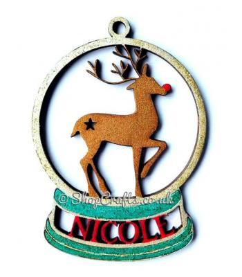 Personalised reindeer snow globe christmas tree bauble.