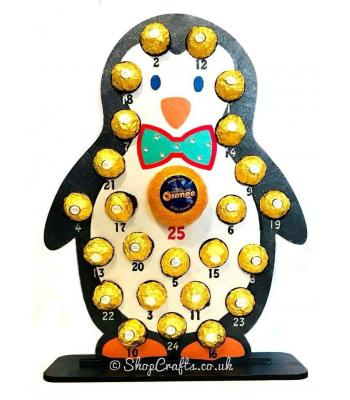 Reusable 6mm thick boy penguin shaped chocolate advent calendar - OTHER DESIGNS AVAILABLE