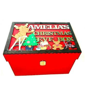 Personalised Christmas Eve box with framed topper - reindeer and toys design