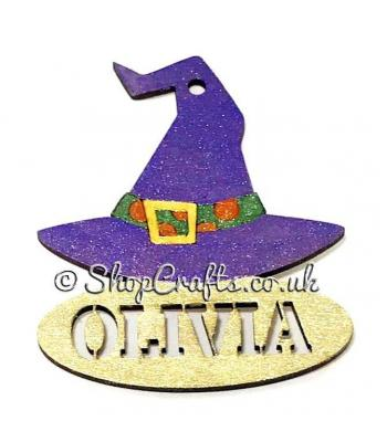 Witches Hat shaped personalised Halloween hanging decoration/tag.