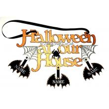 """Halloween At Our House"" personalised hanging sign."