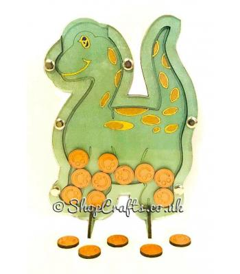 Dinosaur shaped reward chart token drop box.