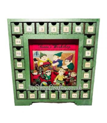 Reusable advent drawers with 3D Elf Workshop scene - OTHER DESIGNS AVAILABLE