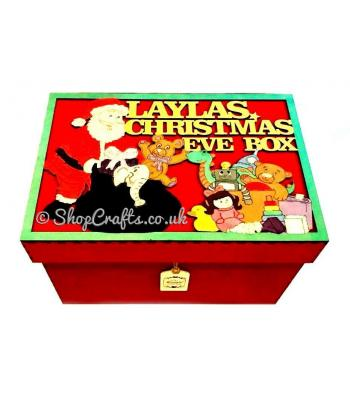 Personalised Christmas Eve box with framed topper - Santa & toys design.