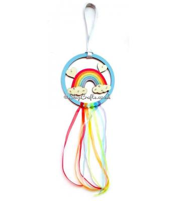 Hanging mini dream catcher - rainbow version.