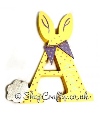 Personalised bunny rabbit themed initial with bunting