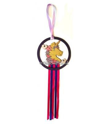 Hanging mini dream catcher - unicorn version.