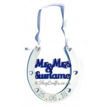 """Mr & Mrs Surname"" personalised wedding horseshoe."