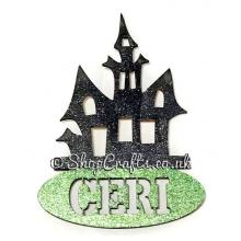Haunted house shaped personalised Halloween hanging decoration/tag.