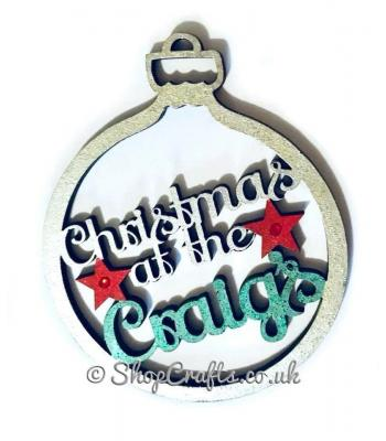 """Christmas at the Surname's"" personalised tree bauble."