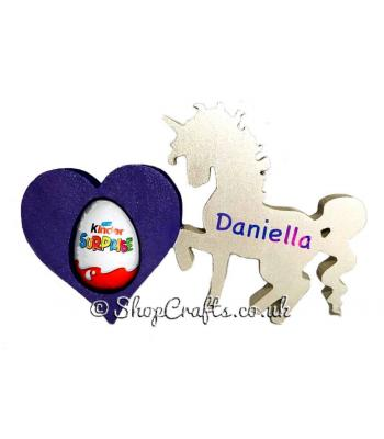18mm thick Kinder egg holder - Prancing unicorn with heart version.